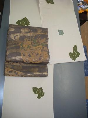 本絞り小紋と袋帯